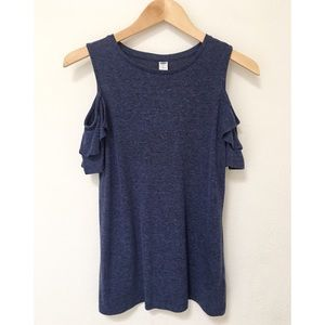 Old Navy Cold Shoulder Navy Linen Blend Top